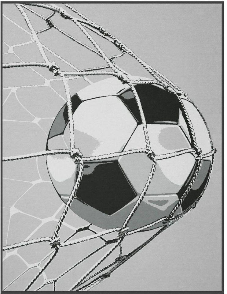 Wohndecke, Biederlack, »Goal«, mit Fußball-Motiv in grau