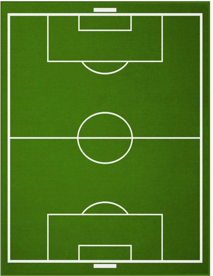 Wohndecke, Biederlack, »Fußballfeld«, mit coolem Fußballfeld-Motiv in grün