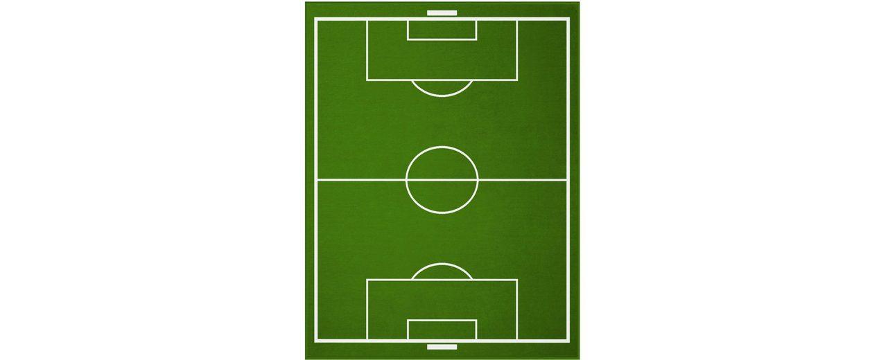 Wohndecke, Biederlack, »Fußballfeld«, mit coolem Fußballfeld-Motiv