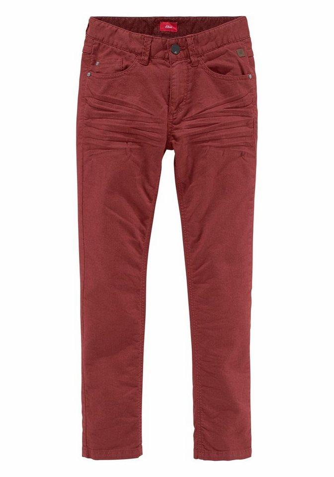 s.Oliver RED LABEL Junior Stretch-Hose Regular-fit mit schmalem Bein in dunkelrot