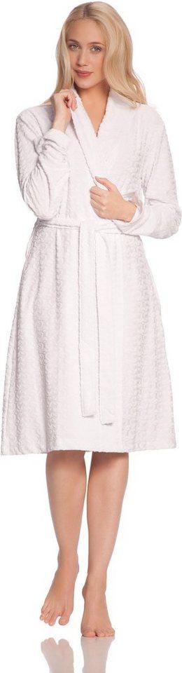 Damenbademantel, Vossen, »Luna«, mit Ornamenten in weiß