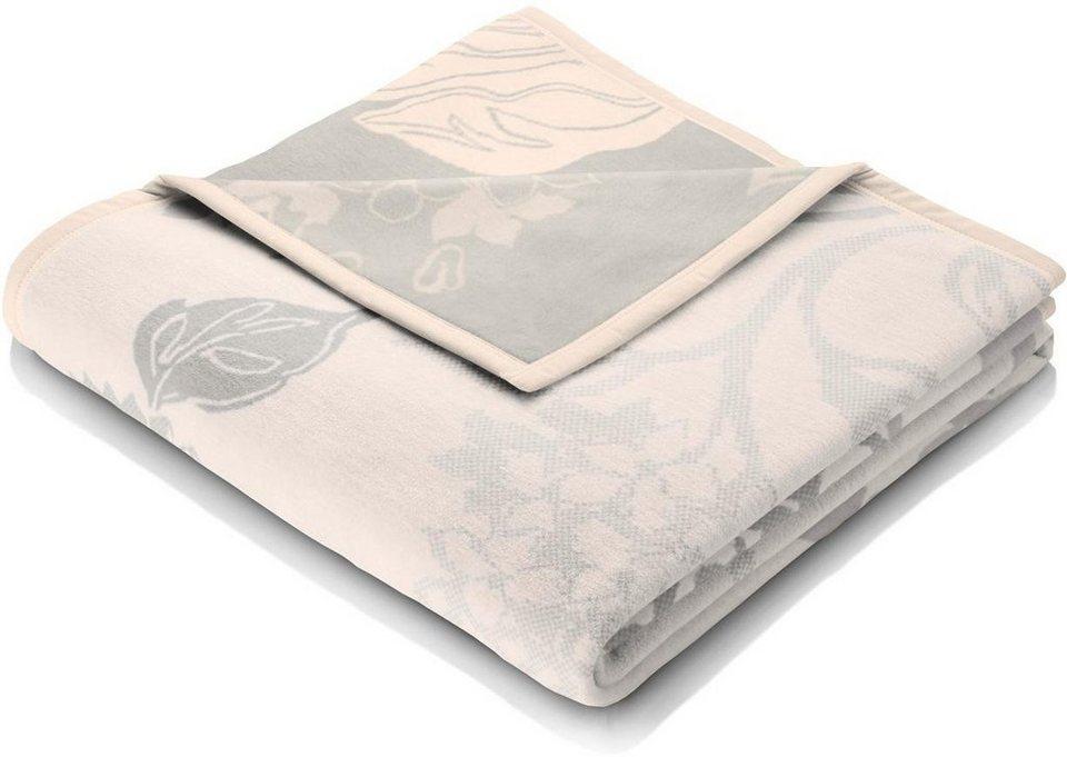 Wohndecke, Biederlack, »Danae«, mit floralem Muster in beige