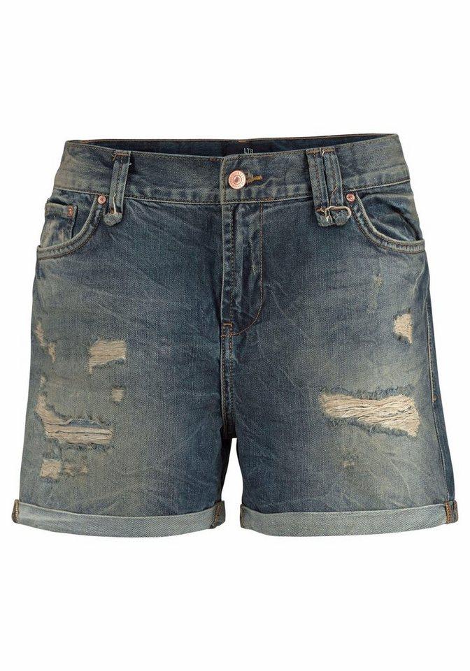 LTB Shorts »Milena« mit destroyed und used Effekten in hellblau-denim