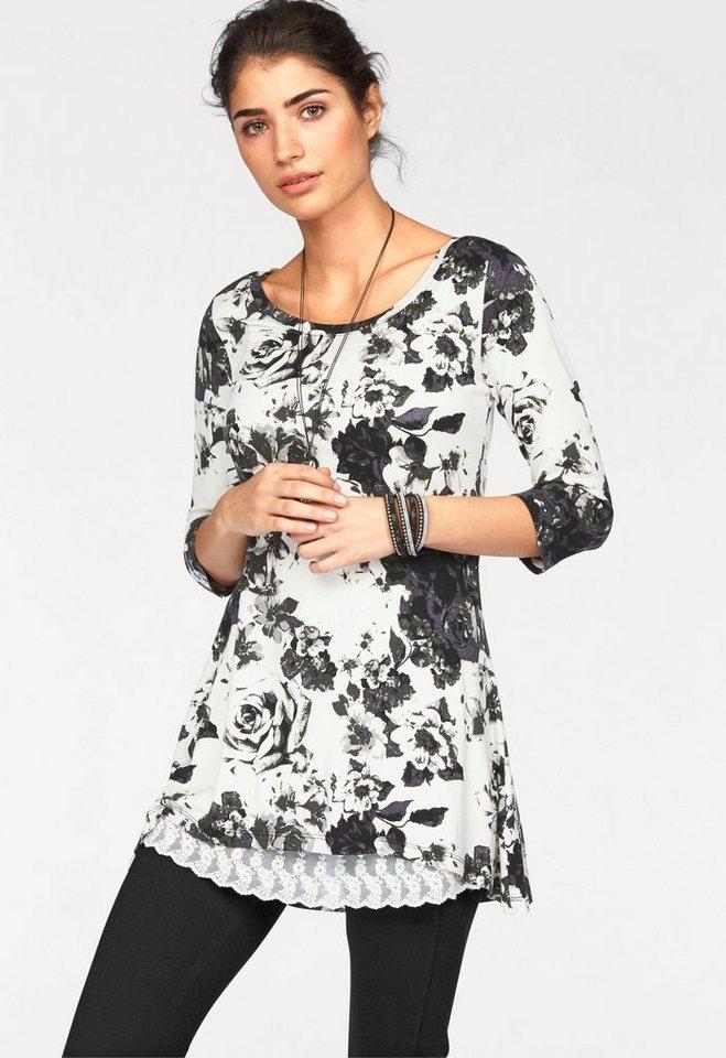 Boysen's Vokuhila-Shirt mit Blumendruck in wollweiß-schwarz