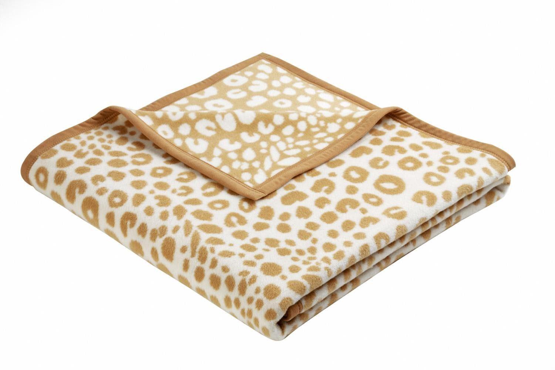 Wohndecke, Biederlack, »Leopard«, mit Veloursband-Einfassung