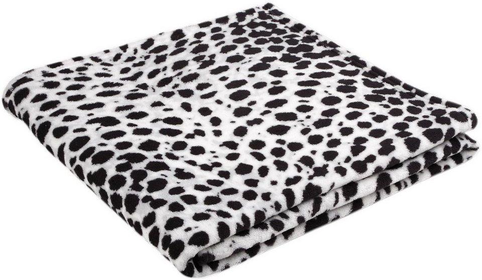 Wohndecke, Biederlack, »Leopard«, in Fell Optik in schwarz