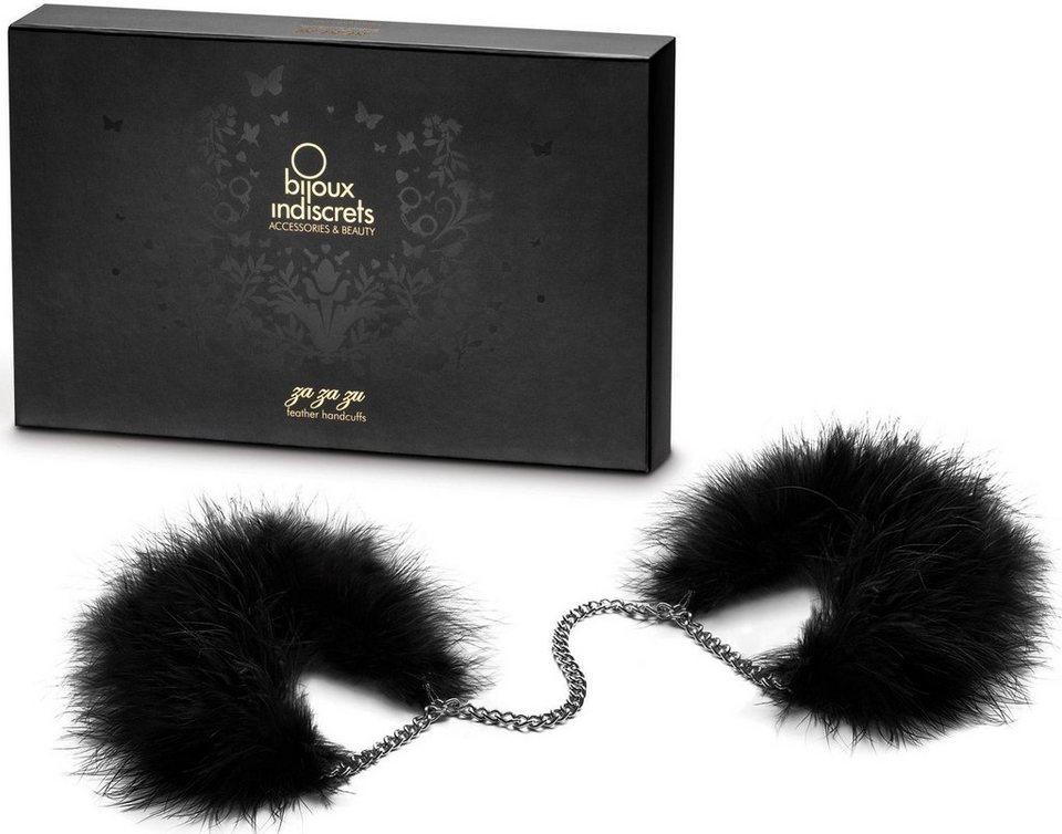 Bijoux Indiscrets Handfesseln aus Metall und Marabufedern »Za za zu Handcuffs« in schwarz