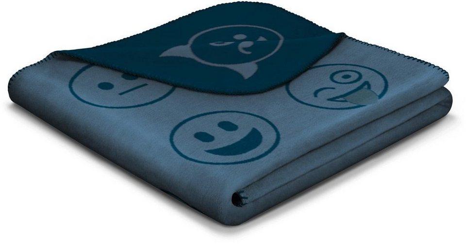 Wohndecke, Biederlack, »What´s now«, mit Smileys in blau