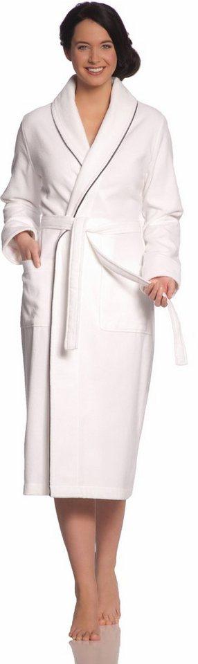Damenbademantel, Vossen, »Anna«, mit feiner Satinbiese in weiß