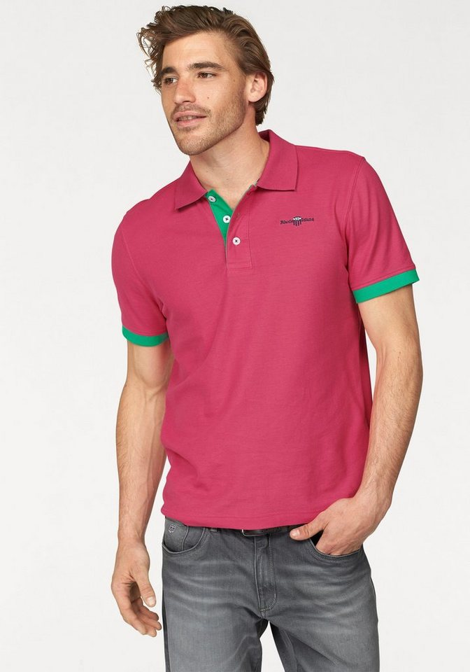 Rhode Island Poloshirt »Piqué Qualität« in pink-grün
