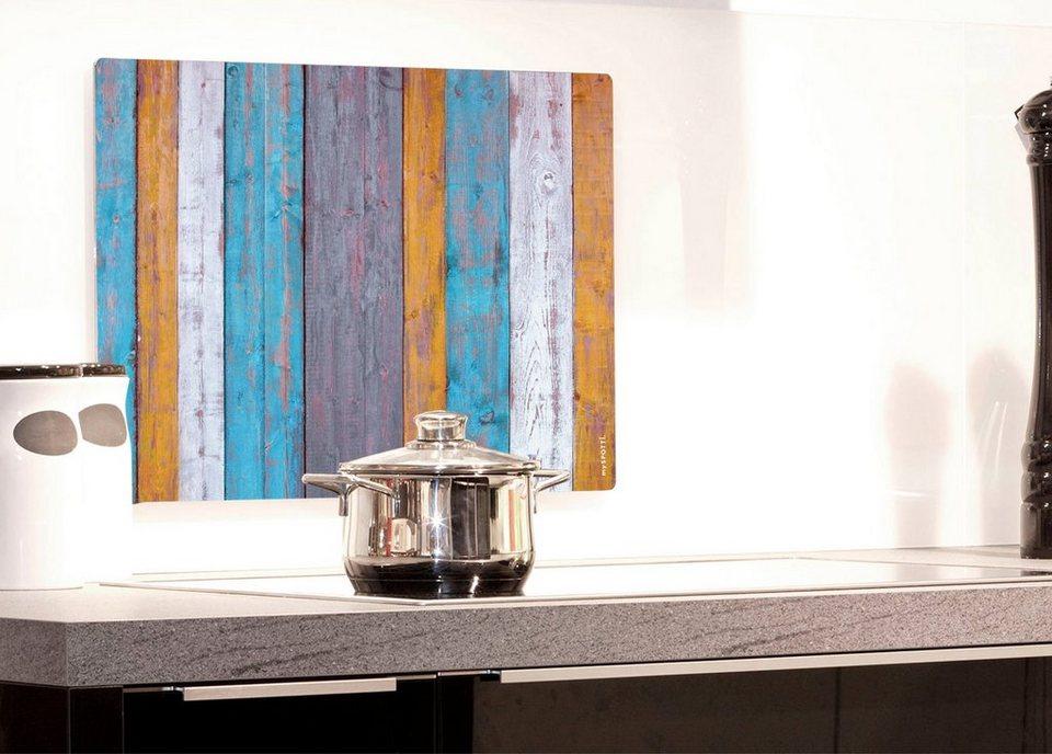 Küchenrückwand »pop«, Holzplanken, 59x41 cm in bunt