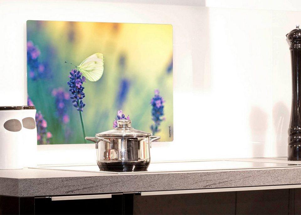 Küchenrückwand »pop«, Sommerwiese, 59x41 cm in lila