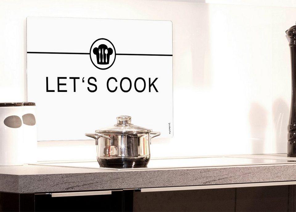 Küchenrückwand »pop«, Let`s cook, 59x41 cm in weiß