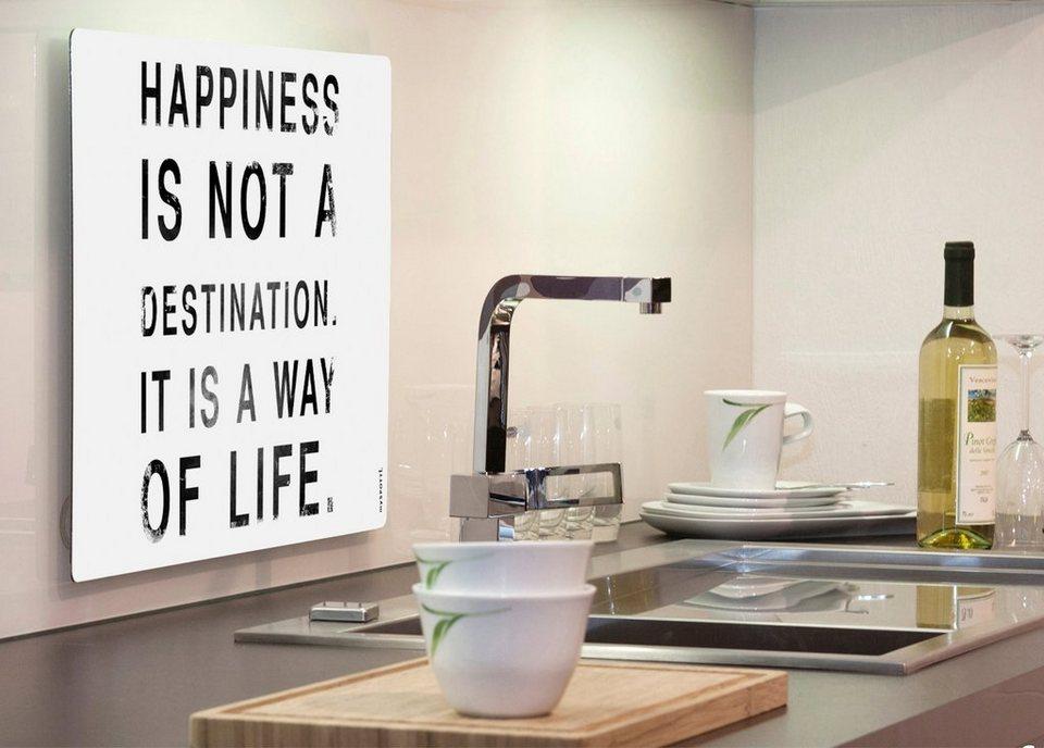 Küchenrückwand »pop«, Happiness, 59x41 cm in weiß