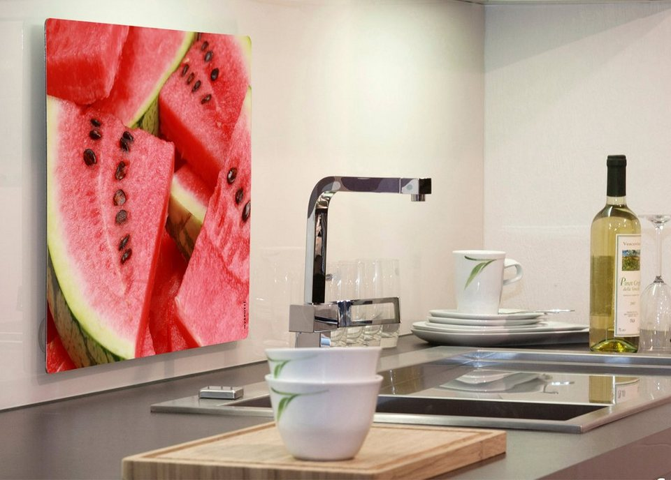 Küchenrückwand »pop«, Watermelon, 59x41 cm in rot