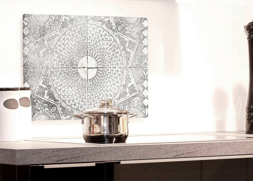 Küchenrückwand »pop«, Stuckornamente, 59x41 cm in grau