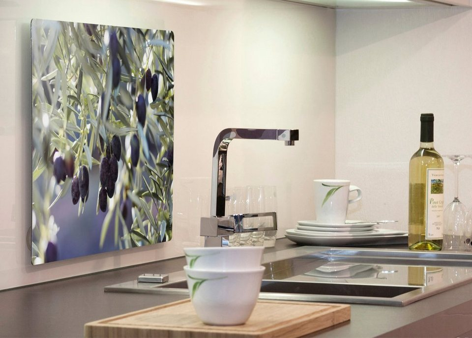 Küchenrückwand »pop«, Olivenbaum, 59x41 cm in grün