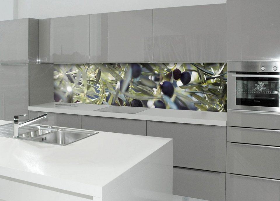 Küchenrückwand - Spritzschutz »profix«, Olivenbaum, 220x60 cm in grün