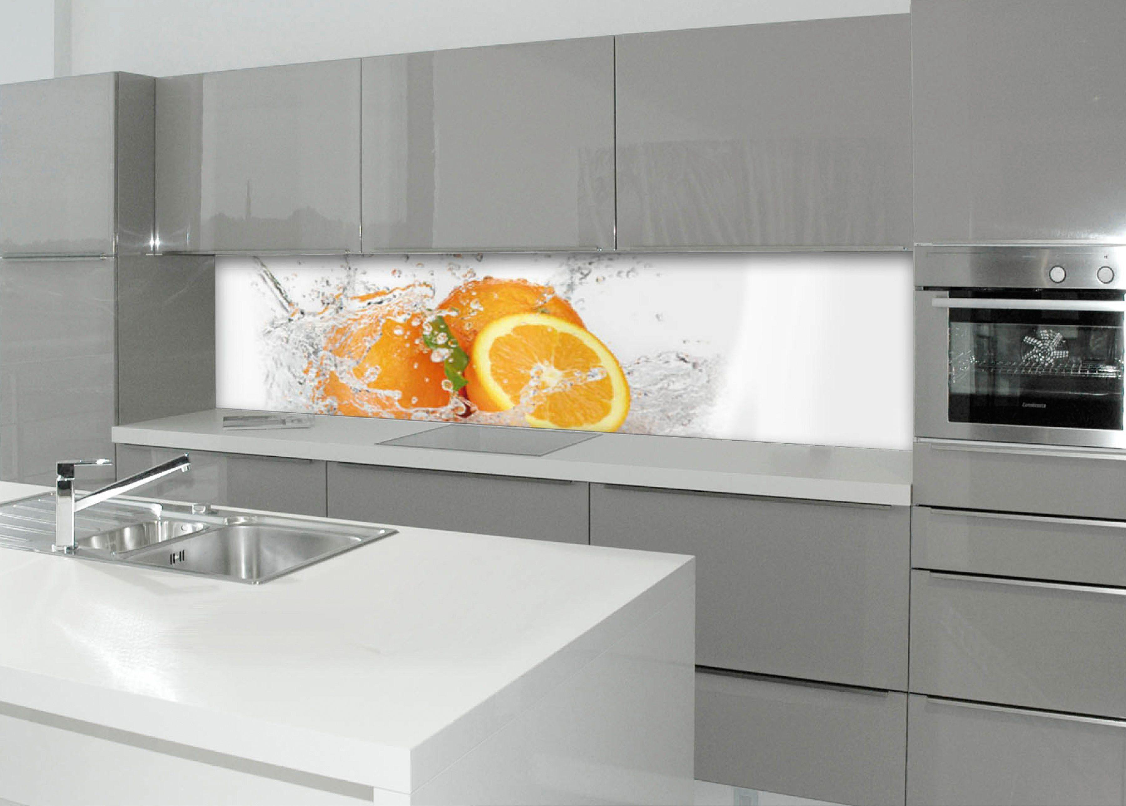 Küchenrückwand - Spritzschutz »profix«, Aqua-Orange, 220x60 cm