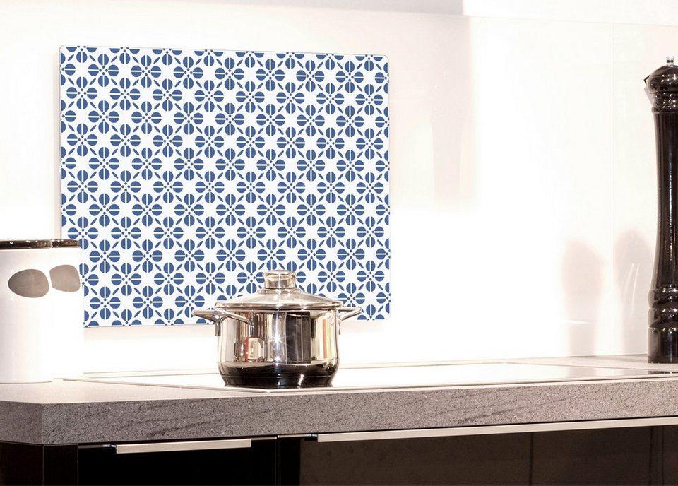 Küchenrückwand »pop«, Blumenmuster, 59x41 cm in blau