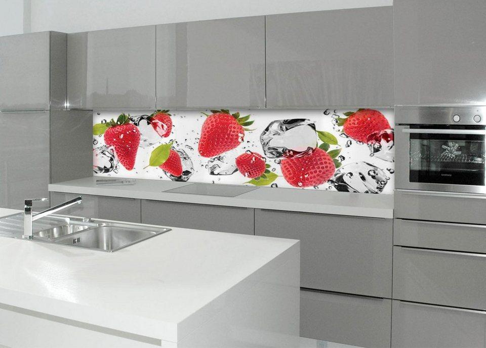 Küche rückwand  Küchenrückwand - Spritzschutz »profix«, Erdbeeren und Eis, 220x60 ...