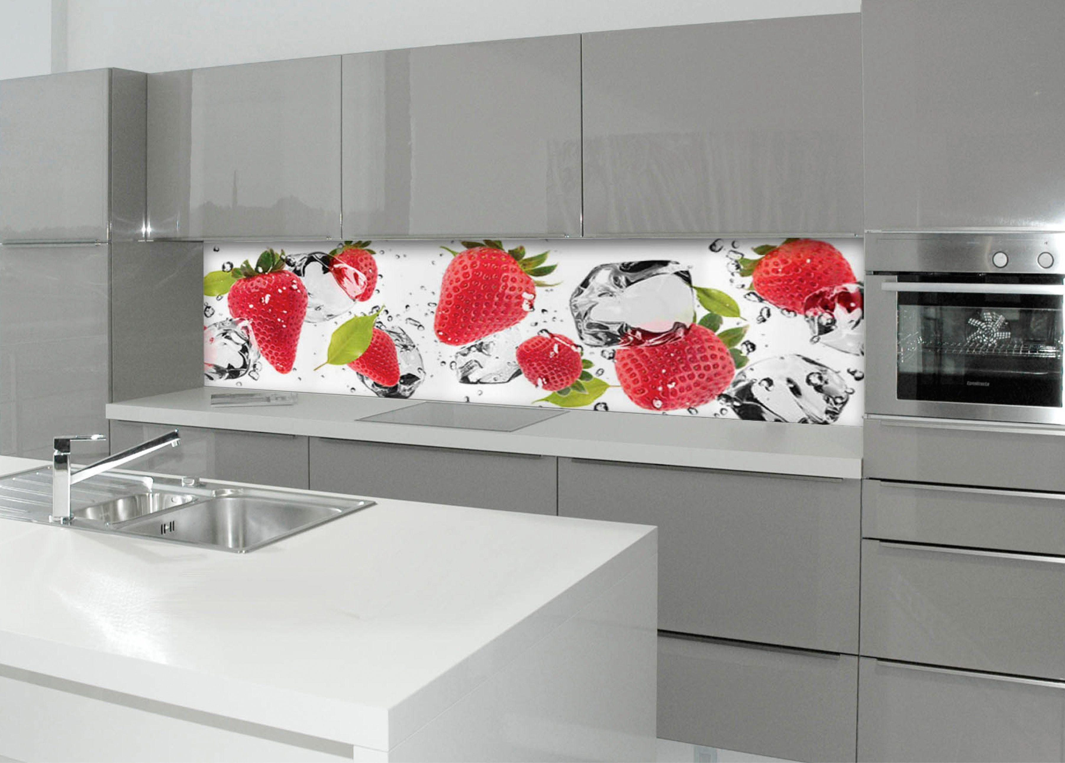 Küchenrückwand - Spritzschutz »profix«, Erdbeeren und Eis, 220x60 cm