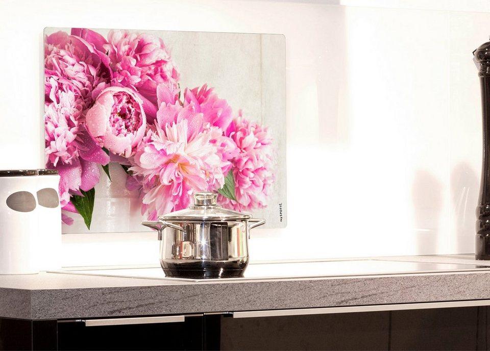 Küchenrückwand »pop«, Pfingstrose, 59x41 cm in rosa