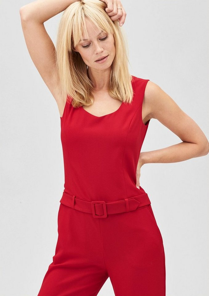 s.Oliver PREMIUM Eleganter Jumpsuit mit Gürtel in red