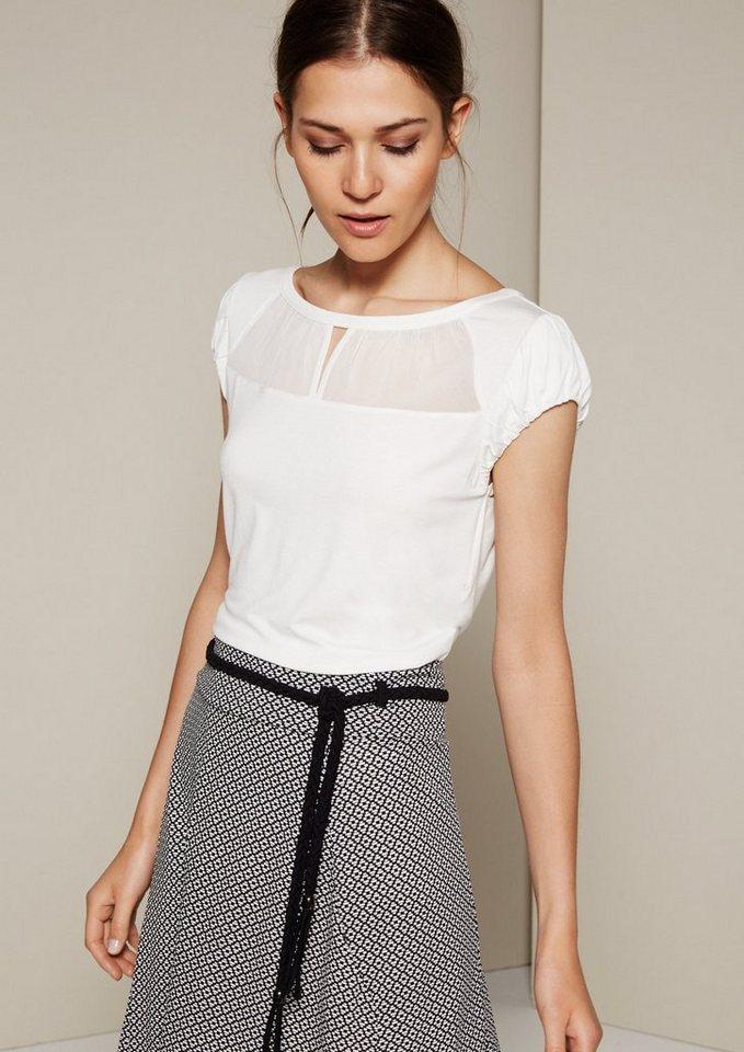 COMMA Feminines Kurzarmshirt mit dekorativem Chiffoneinsatz in offwhite