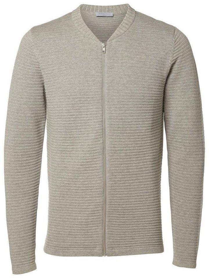 Selected Reißverschluss- Strick-Cardigan in Grey Melange