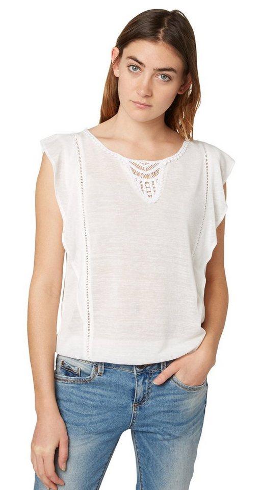 TOM TAILOR DENIM T-Shirt »feminines Shirt mit Häkel-Details« in off white