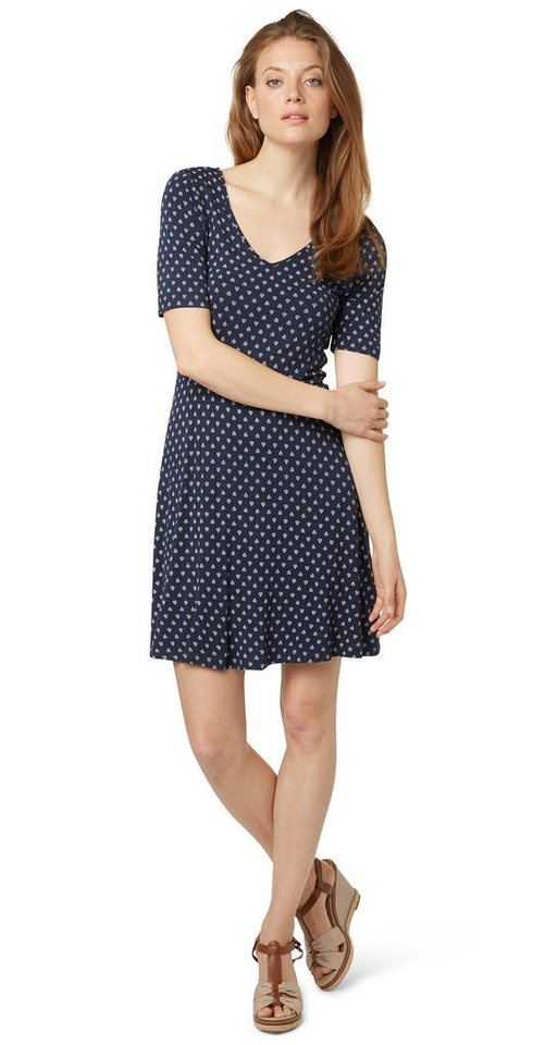 TOM TAILOR Kleid »feminines Jersey-Kleid mit Muster« in real navy blue