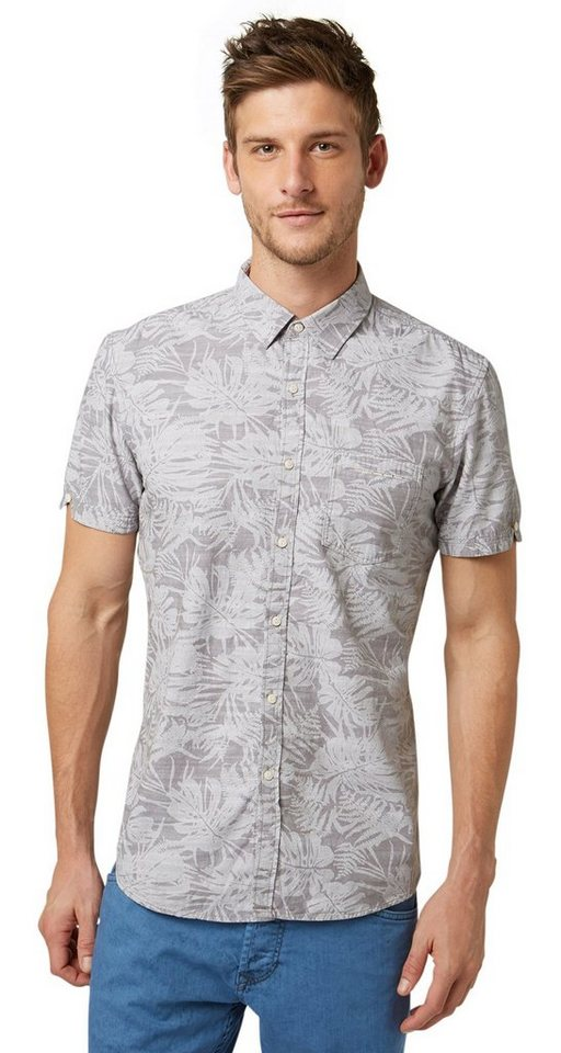 TOM TAILOR DENIM Hemd »Kurzarm-Hemd mit Tropical-Muster« in steel grey