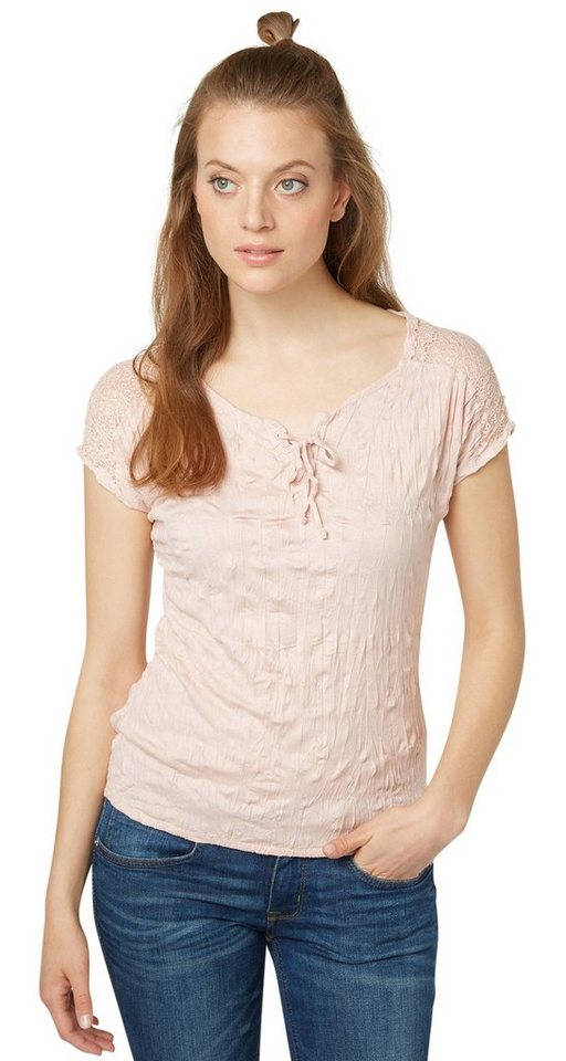 TOM TAILOR T-Shirt »T-Shirt mit Knitter-Effekt« in cherry blossom pink