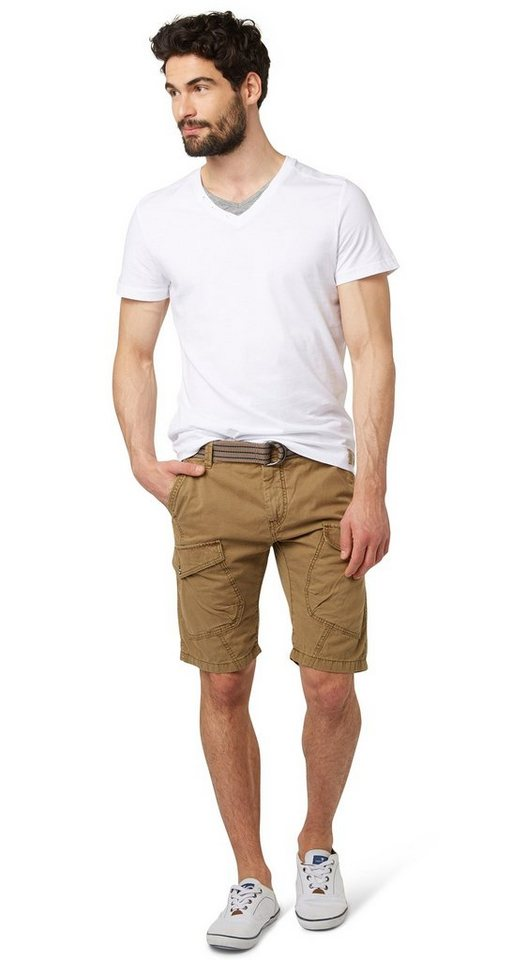 TOM TAILOR Shorts »Cargo-Bermuda mit Logo-Stickerei« in tan starfish
