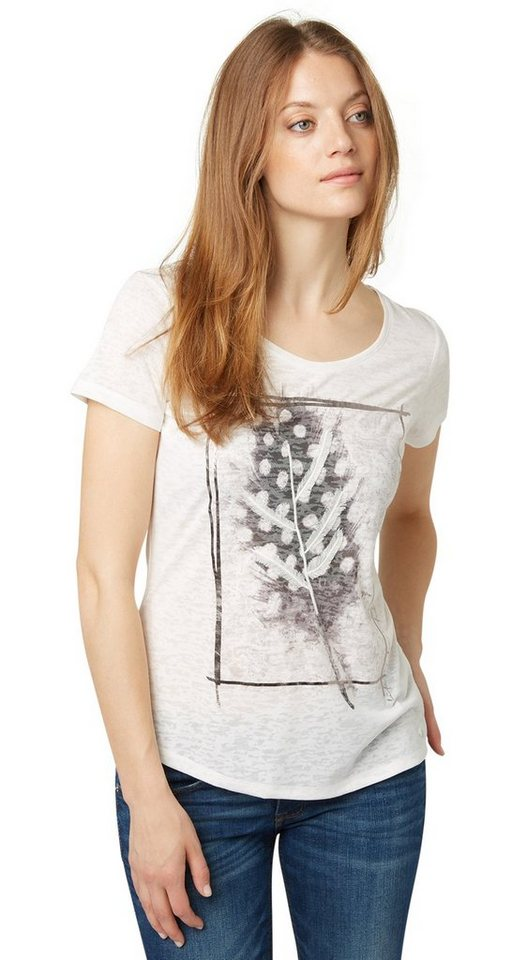 TOM TAILOR T-Shirt »Print-Shirt mit Feder-Detail« in whisper white