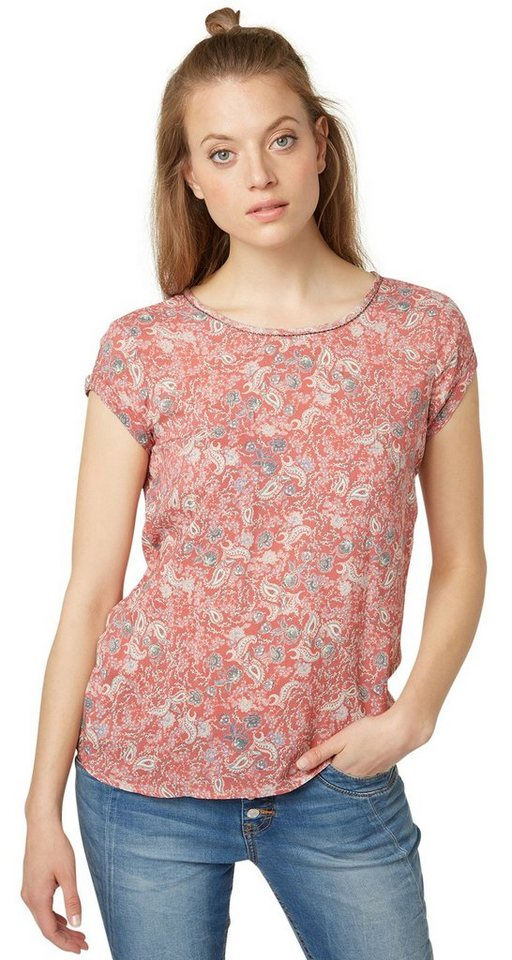 TOM TAILOR Bluse »print mix blouse« in terracotta red