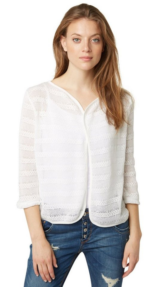 TOM TAILOR Sweatjacke »sommerlicher Cardigan mit Fransen« in whisper white