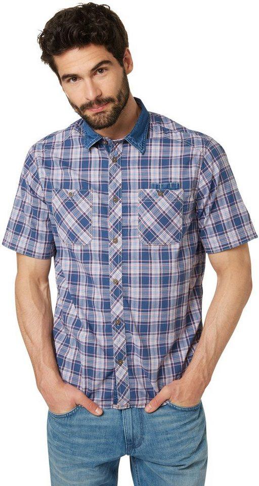 TOM TAILOR Hemd »kariertes Hemd mit Jeans-Detail« in ensign blue