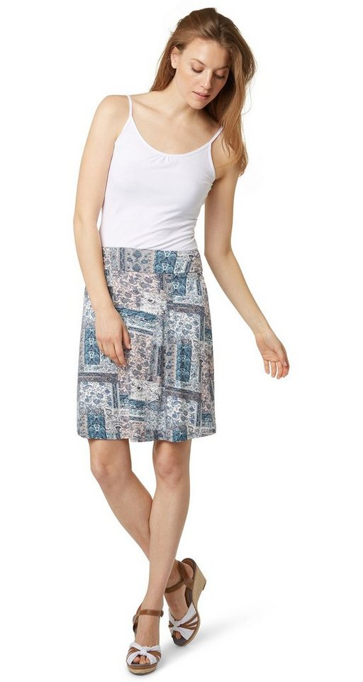 TOM TAILOR Rock »printed skirt with pleats« in Pool Turquoise