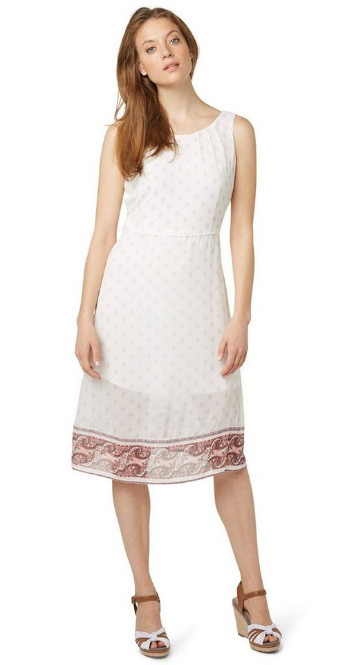 TOM TAILOR Kleid »Midi-Kleid mit Ornamenten-Print« in whisper white