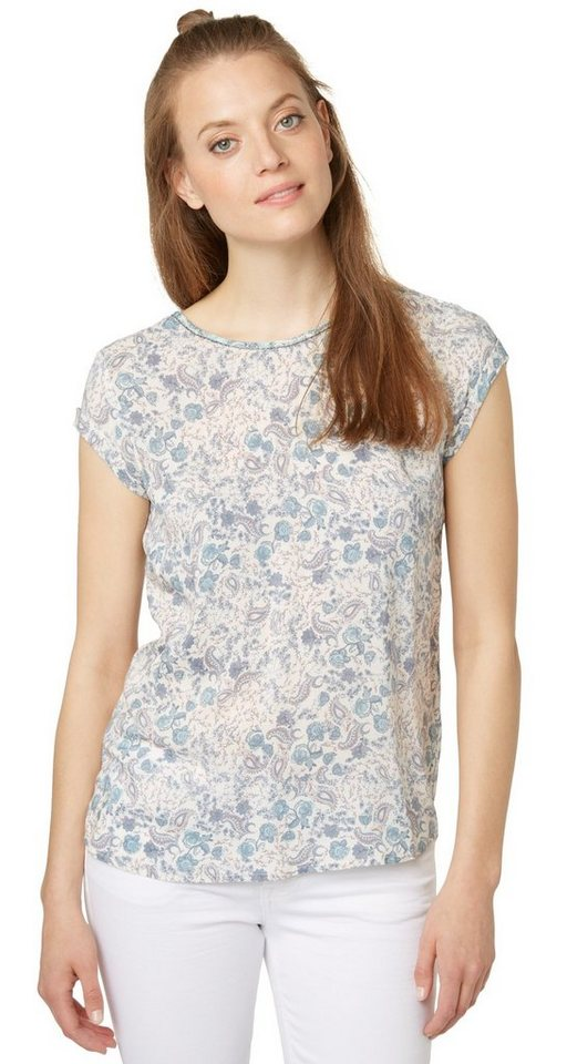 TOM TAILOR Bluse »Shirt mit Paisley-Muster« in whisper white