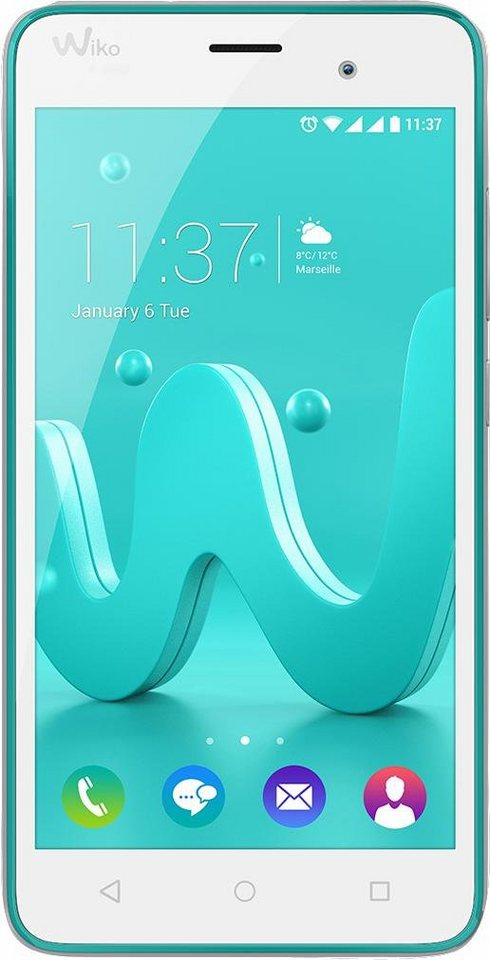 Wiko Jerry Smartphone, 12,7 cm (5 Zoll) Display, Android 6.0 (Marshmallow), 5,0 Megapixel in türkis-silber
