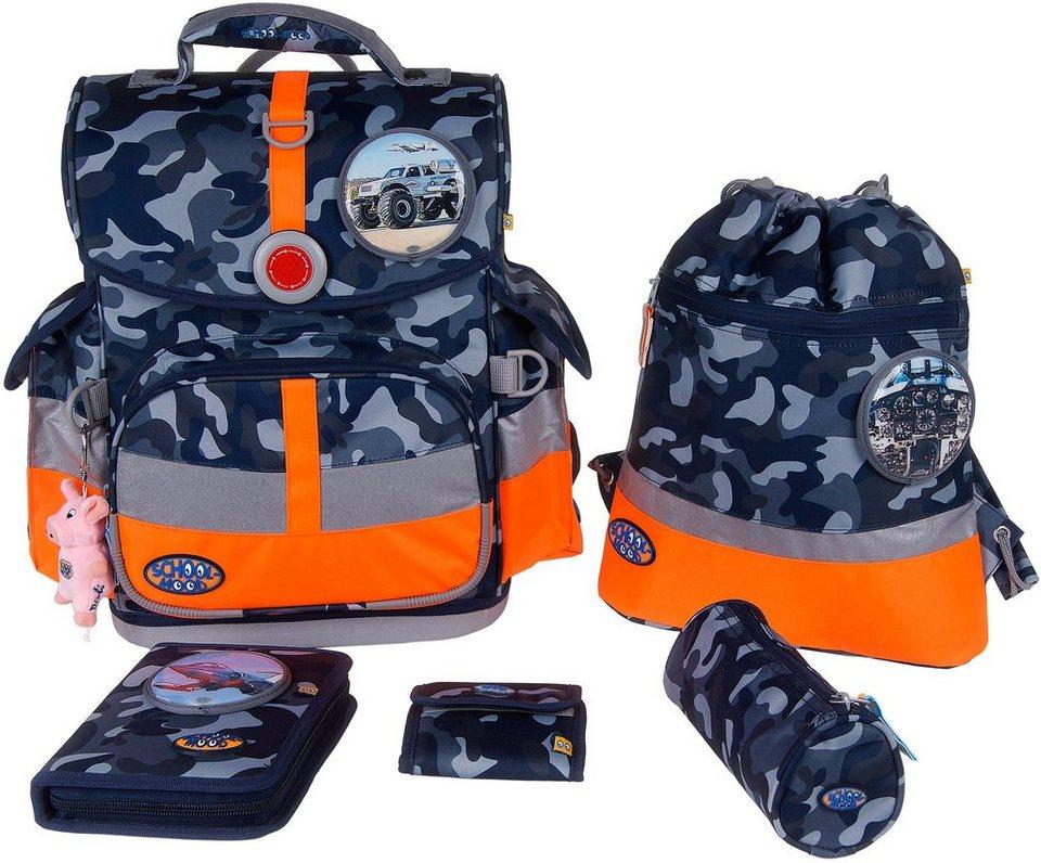 School Mood Schulranzen Set, camouflage, 6tlg., »Timeless N.G. Set Air Force« in blau