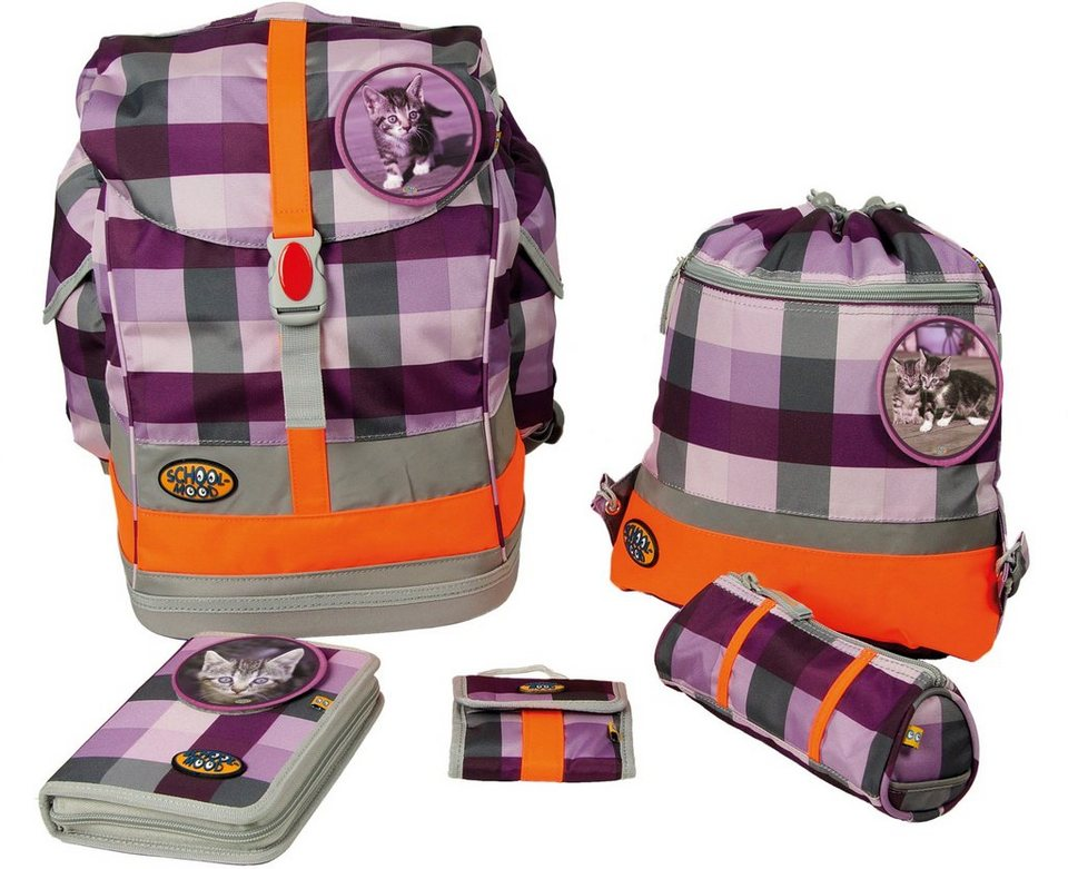 School Mood Schulranzen Set, foal & cat purple checked, 5tlg., »Fly maxi Set Katze« in lila