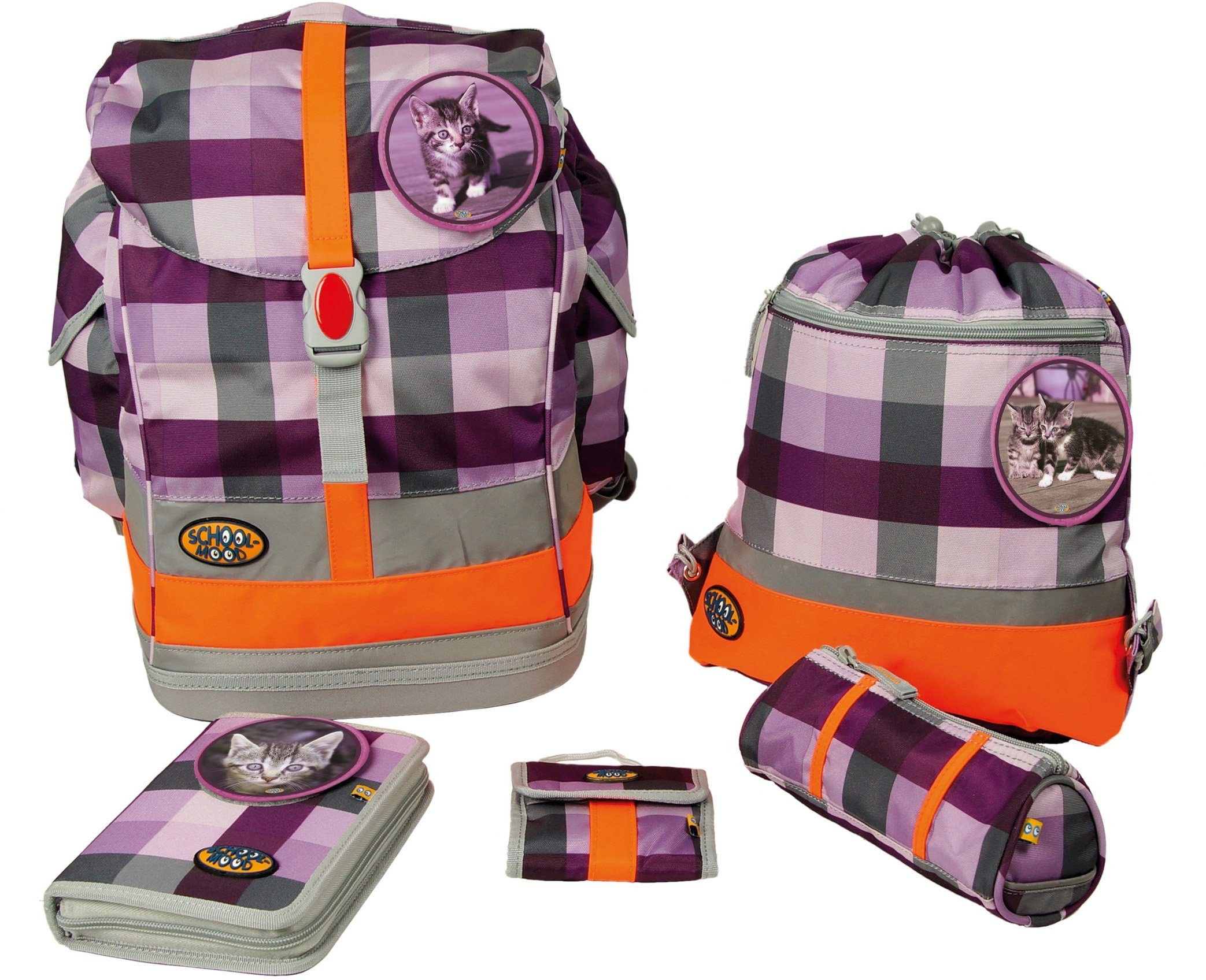 School Mood Schulranzen Set, foal & cat purple checked, 5tlg., »Fly maxi Set Katze«