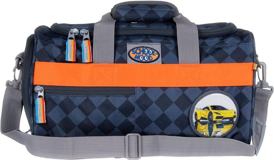 School Mood Sporttasche mit Nassfach, asphalt, »Auto« in blau