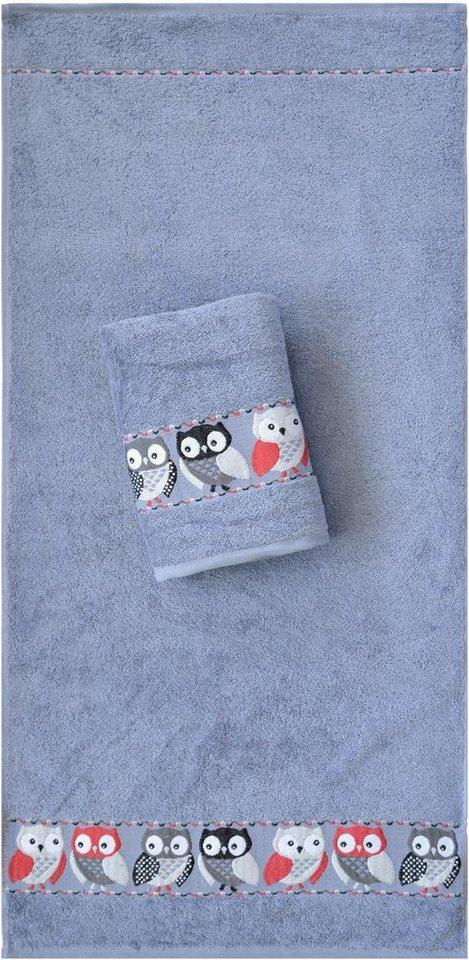 Handtücher, Dyckhoff, »Eulen«, mit süßen Eulen in grau
