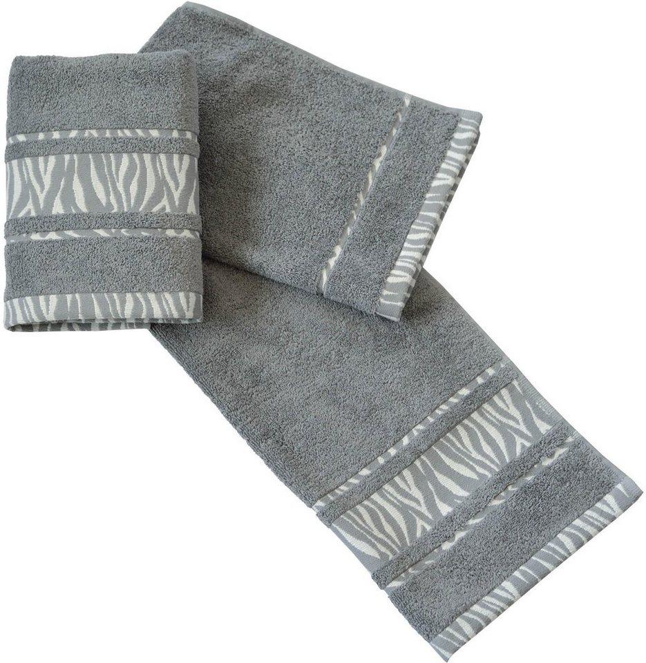 Handtücher, Dyckhoff, »Zebra Bordüre«, mit Bordüre in grau
