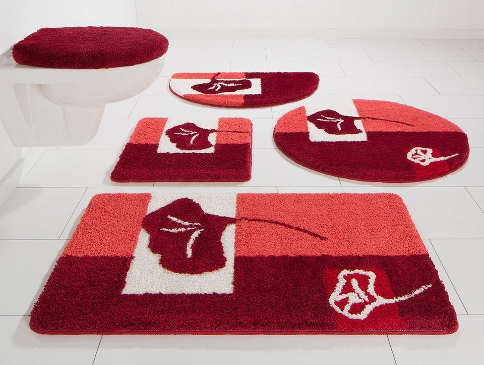 Badematte, my home Selection, »Frida«, Höhe 20 mm, rutschhemmender Rücken in rot